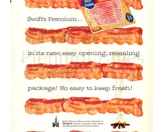 1956 Swift's Premium Bacon Vintage Ad, 1950's Cooking, Advertising Art, Bacon, Campfire, Retro Magazine Ad, Great for Framing or Collage.