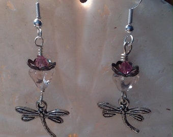 Dragonfly Earrings - dragonfly - glass flower bead - Copper vintage bead caps - Swarovski Crystals