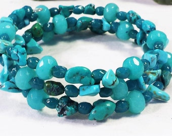 Turquoise Bracelet - Handmade Memory Wire Bracelet - Handmade Beaded Bracelet - Wrap Bracelet - Boho Bracelet - Stainless Steel