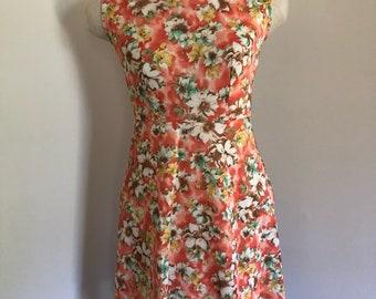 Sleeveless Coral and Aqua Floral Print Mini Dress S M