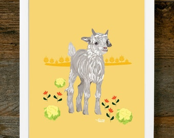 Baby Nursery Art - Goat Art - Baby Art, Goat Illustration, Farm Illustration, Nursery Art
