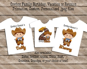 Cowboy Theme Birthday Family Set Digital Printables for iron-ons, heat transfer, Scrapbooking, Cards, Tags, Invitations, DIY YOU PRINT