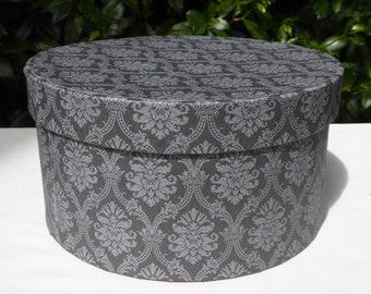 Gray damask patterned band box, 19th century repro