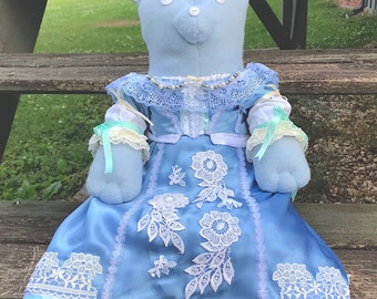 Tebby Bear Plush in Blue Cavalier Dress