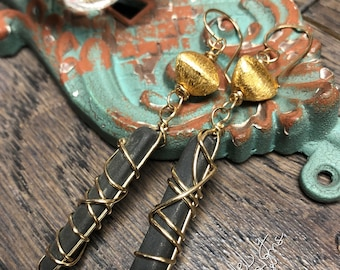 ONLY 3 pair available! Tumbled Slate and Gold filled earrings, ThePurpleLilyDesigns