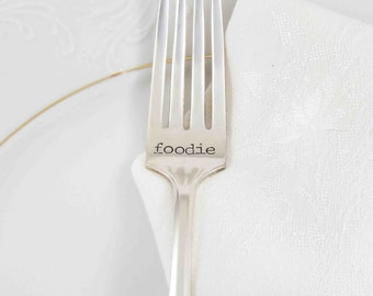 Foodie Fork, Foodie Gift, Gourmet Gift Idea, Gift Ideas, Gift for Him, Gift for Her, Hand Stamped Fork, Gifts Under 30