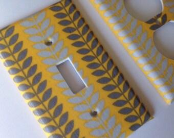 Light Switch Cover / Yellow and Gray Single Light Switchplate Set/ Yellow and Gray Decor / Yellow and Gray Nursery / Bathroom / Grey Home