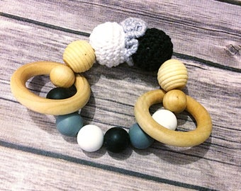 natural baby teether/ best baby teether/ wooden teething ring/ baby gift/ baby shower/ silicone teething beads/ handmade baby gifts/ rattle
