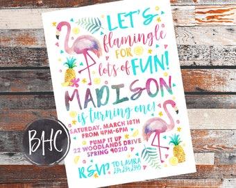 Flamingo Birthday Invite. Flamingo Party Invitation. Flamingo Party. Flamingo Invite. Flamingo Birthday. Tropical Birthday. Birthday Invite.