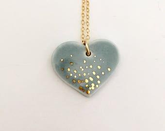 Ceramic heart, gray, gold lustre