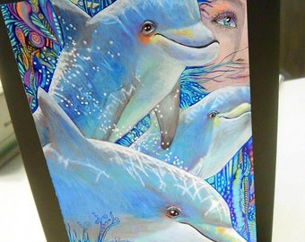 greeting card print of original art-  dolphin pod Zentangle spirit animal