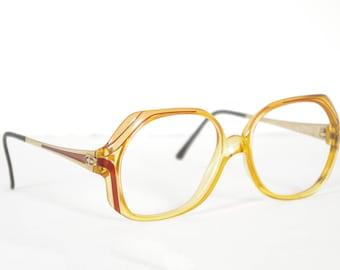 Christian Dior Optyl 1970s Vintage Clear Orange Plastic Eyeglasses Frames