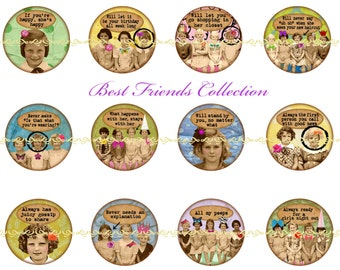 Best Friends Magnets, Vintage Women Magnets, Altered Art Magnets, Best Friends Pins, Girls Night Out, Best Friends Forever, Best Friend Gift