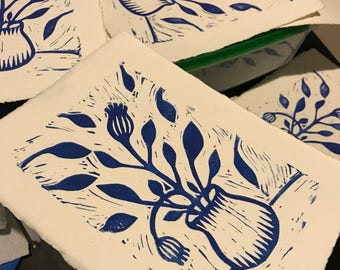Blue flower linocut prints