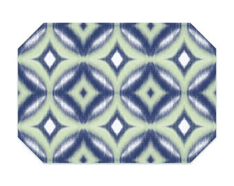 Printed Ikat placemat, navy placemats, circles, green cloth placemat, fabric placemat, table linens, table setting, home decor, place mat