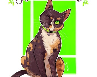 Whimsical Pet Portrait (Cat)