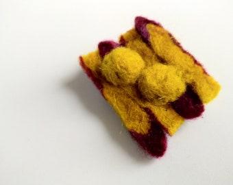yellow felt brooch