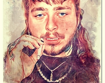 Post Malone Watercolor Painting Artistic Press