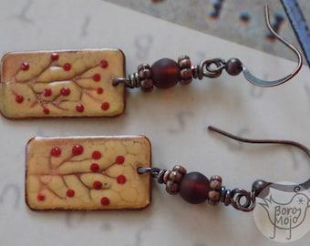 Ochre rosehip copper enamel earrings - Natural torch fired jewelry