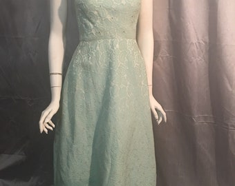 Vintage 1940's 50's Brocade Formal Sleeveless Dress with Hand Beaded and Rhinestone Collar in Ankle Length.