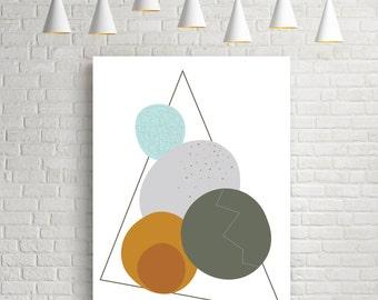 Geometric print, abstract art, geometric poster, mid century modern, watercolor art, modern art print, scandinavian print, wall art, cercles