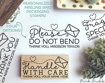 Personalized Mailing Stamps, Do Not Bend Stamp, Handle with Care Stamp, Fragile Stamp, Thank You Stamp