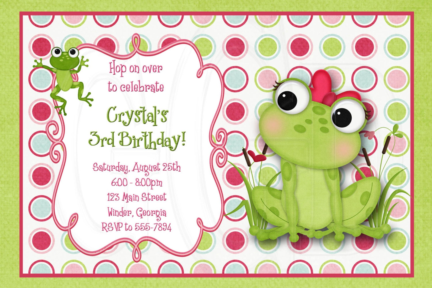 Frog invitation frog birthday frog baby shower frog invite