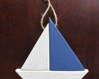 Wood Sailboat  Ornament, Curtain Tieback, Napkin Ring, or Magnet -Nautical Decor from Reclaimed Wood