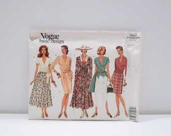 Wrap Top and Skirt 1992 Vintage Vogue 2927 Sewing Pattern Never Used 1990s Size 8 10 12 Long Sleeve Short Sleeve Flared Skirt Mini Skirt