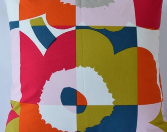 "Marimekko Pillow Cover, Handmade-Pattern Design:Maija Isola-Ruutu-Unikko 20""x20"" (50x50cm)"
