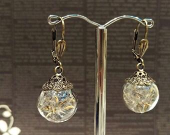 Real Dandelion Glass Globe Earrings, Dandelion Wish Dangle Earrings