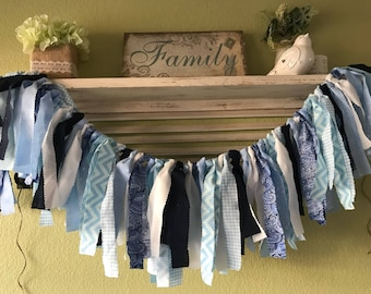 Blue baby shower banner Blue party decorations Blue highchair banner Rag Garland Baby shower Highchair Banner Photo prop Newborn photo prop