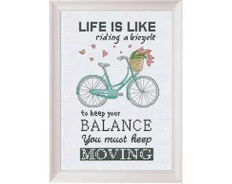 Funny cross stitch pattern bike, inspirational quote embroidery pattern, easy cross stitch pdf bicycle pattern quote funny embroidery design