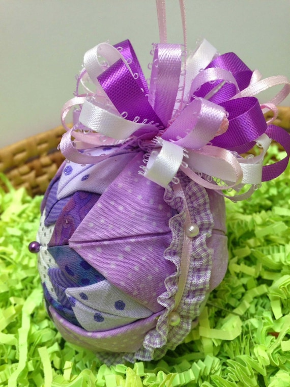Folded fabric ornament quilted holiday ornament purple folded fabric ornament quilted holiday ornament purple lavender full bow for easter decoration christmas tree handmade gifts under 20 negle Gallery