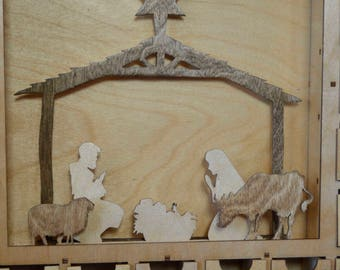 Light Nativity Scene. Dark stable and animals