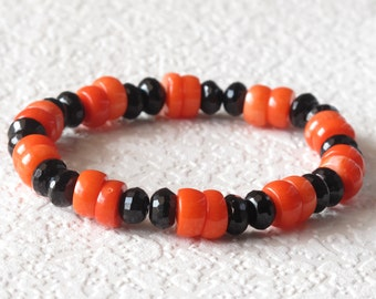 coral and black onyx bracelet
