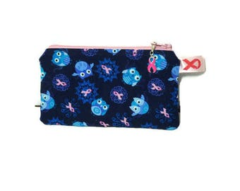 """Owls & Breast Cancer Awareness Pink Ribbons Zipper Pouch, Coin Purse, Earbud Case, Coin Case, Zipper Case, 3"""" x 5.5"""""""