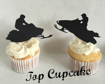 Snowmobile Cupcake Toppers -12
