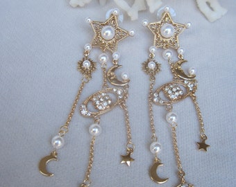 Stars, Crescent Moons & Faux Pearl Celestial Danglers