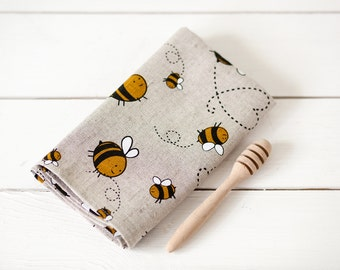 Tea towels with bees, Housewarming gift, linen towels, foodie gift, flour sack towels, Linen hand towels set of 2, kitchen towels
