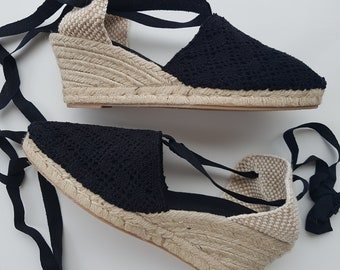 Lace Up Espadrille WEDGES (7cm-2.76i) - BLACK - Made In Spain - www.mumicospain.com