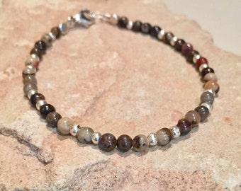 Brown bracelet, jasper bracelet, Hill Tribe silver bracelet, sundance style bracelet, gemstone bracelet, sterling silver bracelet