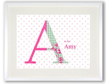 Shabby chic Name Letter personalised children's poster art