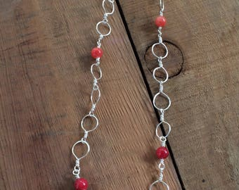 Coral and red agate necklace , 28 inches , on non tarnish silver wire