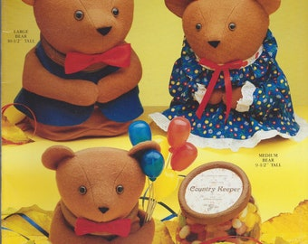 Vintage Book - Keeper Kritters Book I Bear Buddies - Full Size Pattern - Illustrations - Designed to Fit Country Keeper Jars