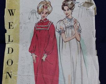 Vintage 1960's Nightdress Sewing Pattern in Size 12 - Weldons 8309