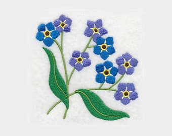 Forget-Me-Nots Tea Towel | Kitchen Towel | Embroidered Towel | Embroidered Kitchen Towel | Alaska State Flower | Embroidered Tea Towel