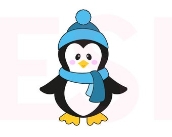 Penguin svg, Christmas svg files, SVG, DXF, EPS, cutting files for use with Silhouette Cameo and Cricut Explore. Winter svg files