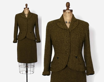 Vintage 50s Green Tweed Suit / 1950s Black & Olive Wool Tailored Blazer Jacket and Pencil Skirt