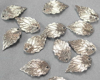 12 Pcs  Silver Plated Leaves Charm,Nickel Free